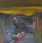 """Nur bei Sonnenuntergang"" Öl/Lwd, 40 x 40 cm, 2013"