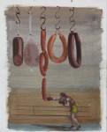 """""""Wurstboxer"""" Öl/Karton, 40 x 50 cm, 2014"""