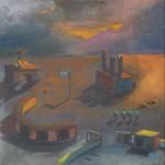 """Freiluftmuseum"" Öl/Papier, 40 x 50 cm, 2014"