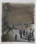 """""""Prozession"""" Öl/P, 38 x 45 cm, 2014"""