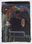 """""""Auge, Mund, Nase, Ohr, Rohr"""" Öl/P, 38 x 54 cm, 2014"""