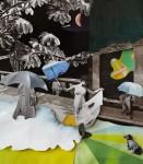 """""""Regen"""" Collage auf Papier, ca. 35 x 30cm, 2012"""