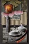 """""""Blick über den Tellerrand"""" Collage auf Papier, ca. 40 x 30cm, 2012"""