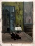 """""""Künstler in der Mittagspause"""" 40x30cm, Öl auf Lwd, 2015, reserviert"""