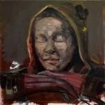 """ohne Blick"" 30x30cm, Öl/Lwd, 2015"