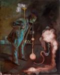 """Das Experiment"" 50x40cm, Öl auf Lwd, 2015"