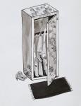 """""""In der Waffenboutique"""" Zeichentusche auf Papier, 24 x 18 cm, 2012"""