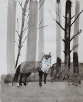 """""""Foxy Lady"""" Zeichentusche und Acryl auf Papier, 25,5 x 21cm, 2012"""