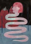 """""""Schlangenfrau"""" Zeichentusche und Acryl auf Papier, 14,7 x 10,5 cm, 2014"""