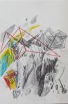 """""""Höhenweg"""" Bleistift und Buntstift auf Papier, 29,5 x 19,5, 2012"""