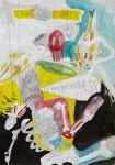 """""""I am a glass of water"""" Bleistift und farbige Tusche auf Papier, 21 x 29,7 cm, 2012"""