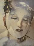 """Aus der Serie """"33 Köpfe"""" Nr 7 (Übermalung d. Zeitschrift  """"Film und Frau, 1955), Öl auf Papier, 32 x 25 cm, 1998"""