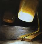 """""""Kleine Lampe am Fenster"""" Öl/Lwd, 15 x 15cm, 2016"""