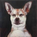 """STEFANIE HILLICH """"o.T."""" (Hund Nr. 1), Öl auf Lwd, 30 x 30cm, 2016"""