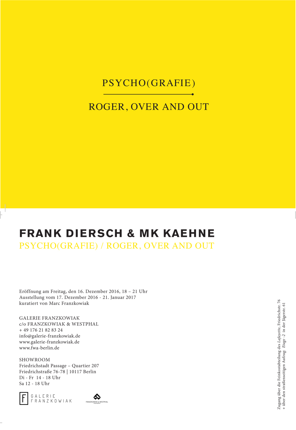 EINLADUNGSKARTE: FRANK DIERSCH & MK KAEHNE PSYCHO(GRAFIE) ROGER, OVER AND OUT.